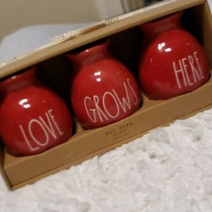 Rae Dunn red love grows here vase